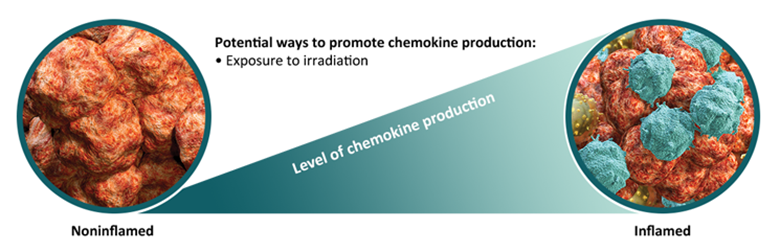 Diagram of a noninflamed tumor converting to an inflamed tumor through chemokine production
